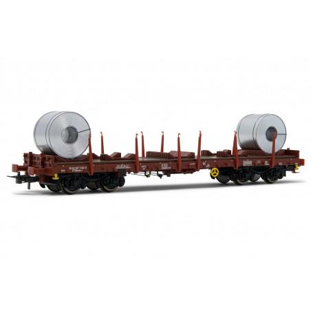 HR6478 FS,  flat wagon Rhmms-x, loaded with coils, period V.