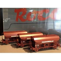 """COFFRET DE 3 WAGONS TDS SNCF """"TRANSCEREALES"""" de ROCO 76033"""