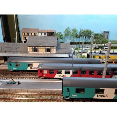 """COFFRET 3 VOITURES TRAIN DE NUIT """"THELLO"""" FS PAR ACME 55222"""