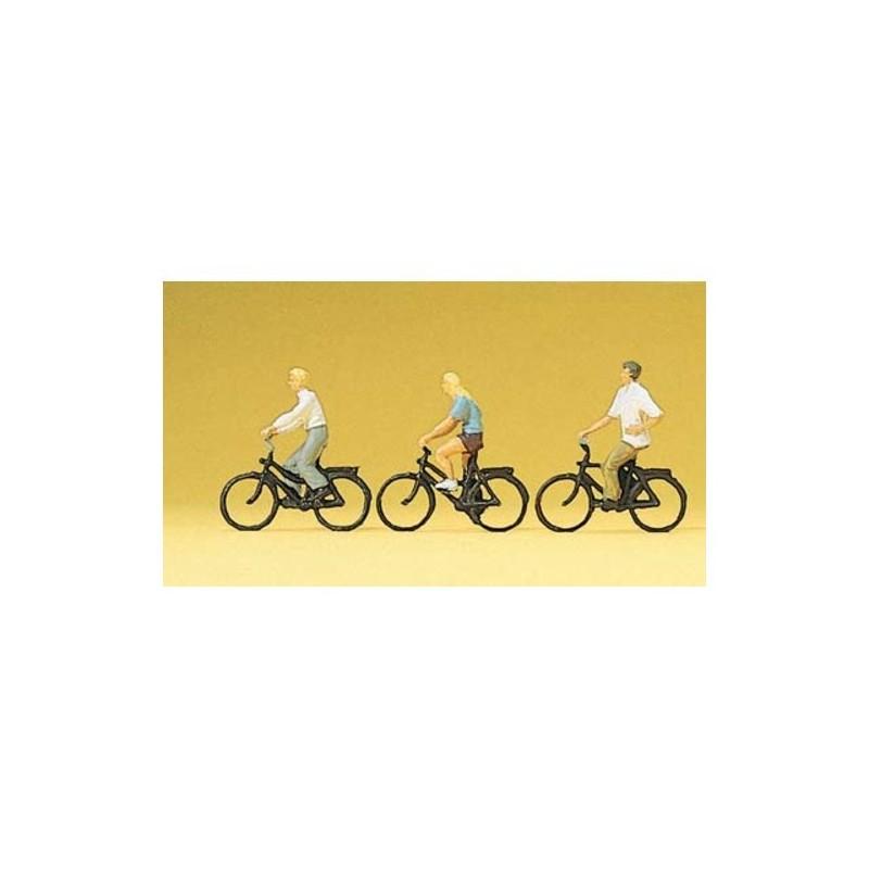 """3 CYCLISTES """"TOURISME"""" de PREISER 10336"""